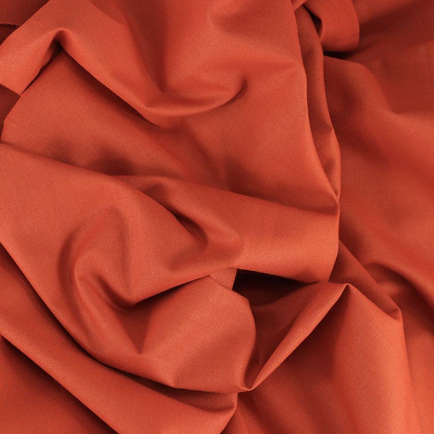 Tissu Emma 100 % Coton Uni Brique © Eyrelles Tissus