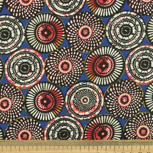 Tissu coton imprimé popeline Soweto bleu © Eyrelles Tissus