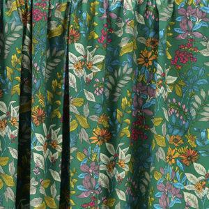 Tissu coton imprimé popeline Glycine Vert Sapin © Eyrelles Tissus