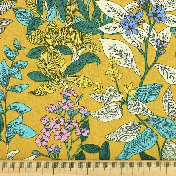 Tissu coton imprimé popeline Glycine Jaune Moutarde © Eyrelles Tissus