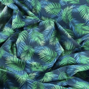 Tissu coton imprimé popeline Nassau bleu © Eyrelles Tissus