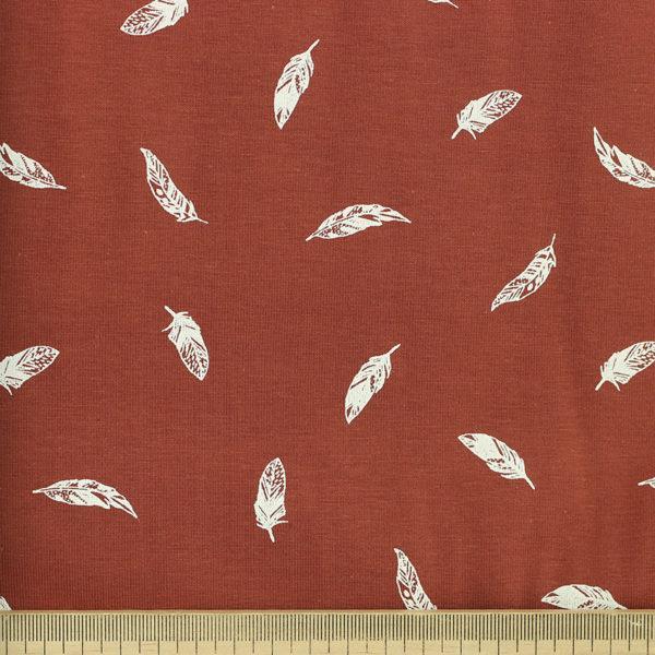 Tissus Popeline de coton oeko tex Plumes brique © Eyrelles Tissus