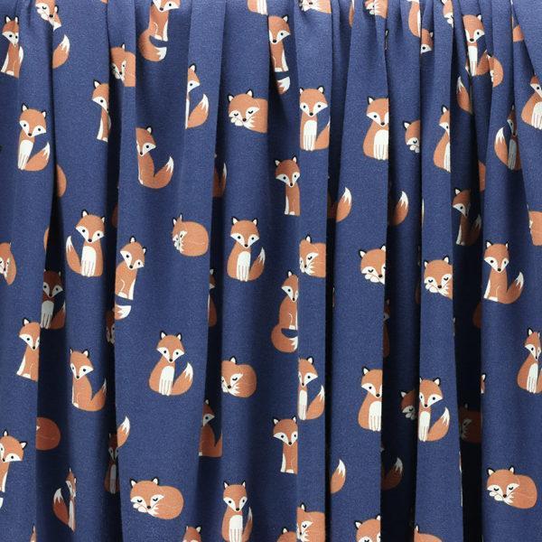 Tissus Jersey coton oeko tex Renard - Bleu © Eyrelles Tissus