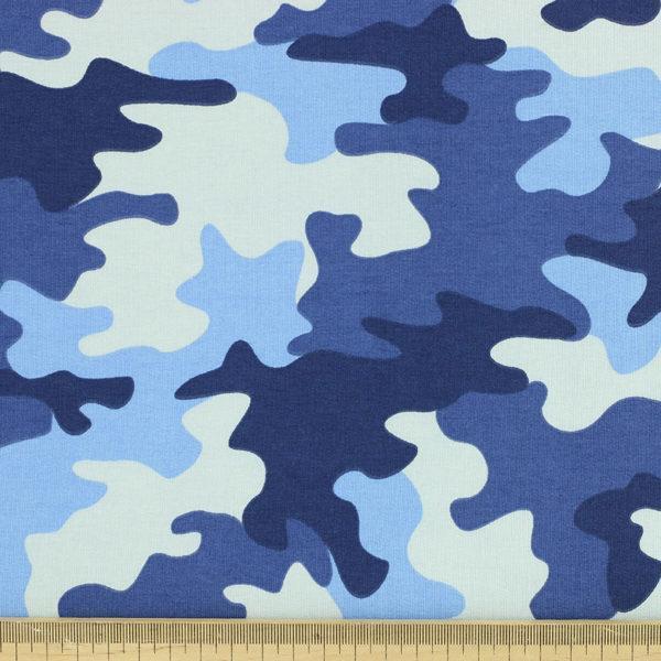 Tissus Jersey coton oeko tex Militaire Bleu © Eyrelles Tissus