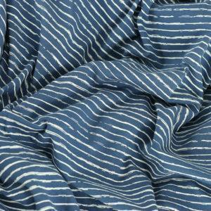 Tissus Jersey coton oeko tex Rayures bleu © Eyrelles Tissus