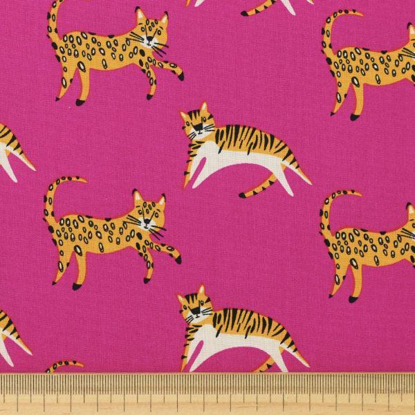 """Tissu coton imprimé popeline """"tiger - rose"""" © Eyrelles Tissus"""