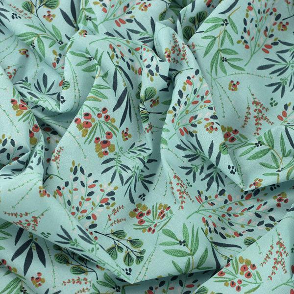 Tissu coton imprimé popeline Genevrier © Eyrelles Tissus