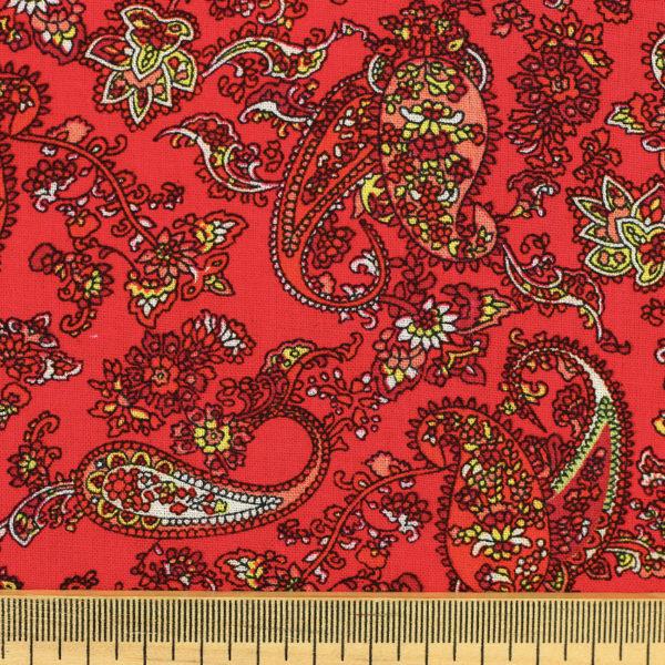Tissu voile de viscose fleuri Cachemire rouge © Eyrelles Tissus