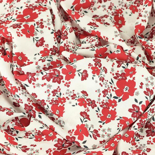 Tissu voile de viscose fleuri Petula rouge © Eyrelles Tissus