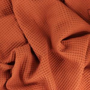 Tissus Nid d'Abeille Brique © Eyrelles Tissus
