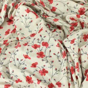"""Tissus Jersey de viscose """"Coquelicot - Rouge"""" © Eyrelles Tissus"""