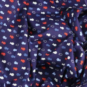 Popeline tissu imprimé coton oeko tex poissons bleu © Eyrelles tissus