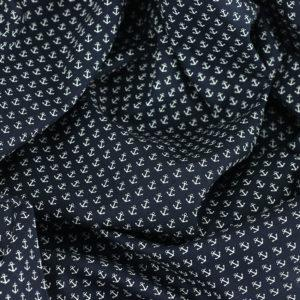 Popeline tissu imprimé coton petites ancres bleu marine © Eyrelles tissus