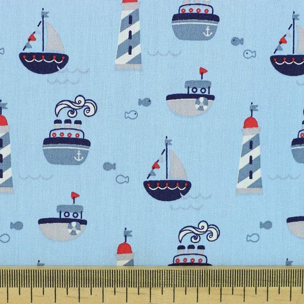 Popeline tissu imprimé coton oeko tex phare bleu © Eyrelles tissus