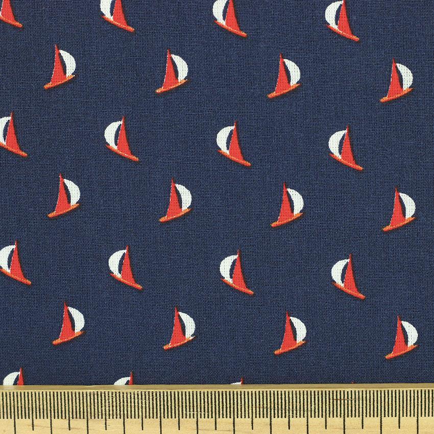 """Popeline tissu imprimé coton oeko tex """"Rigate - Bleu Marine"""" © Eyrelles tissus"""