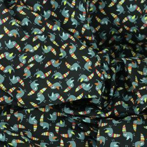 """Popeline tissu imprimé coton oeko tex """"Toucan - Noir"""" © Eyrelles tissus"""