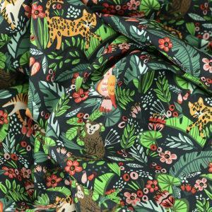 """Popeline tissu imprimé coton oeko tex """"Amazonia - Noir"""" © Eyrelles tissus"""