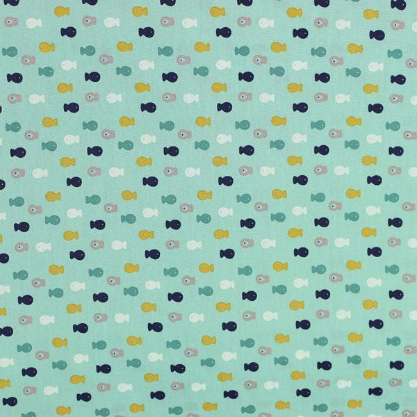 """Popeline tissu imprimé coton oeko tex """"Poissons vert d'eau"""" © Eyrelles tissus"""