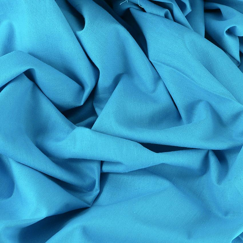 Tissu Emma 100 % Coton Uni Bleu Turquoise © Eyrelles Tissus