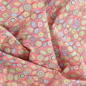 Tissu coton imprimé popeline Clarisse rose © Eyrelles Tissus