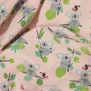 Tissu coton imprimé popeline Koala Rose © Eyrelles Tissus