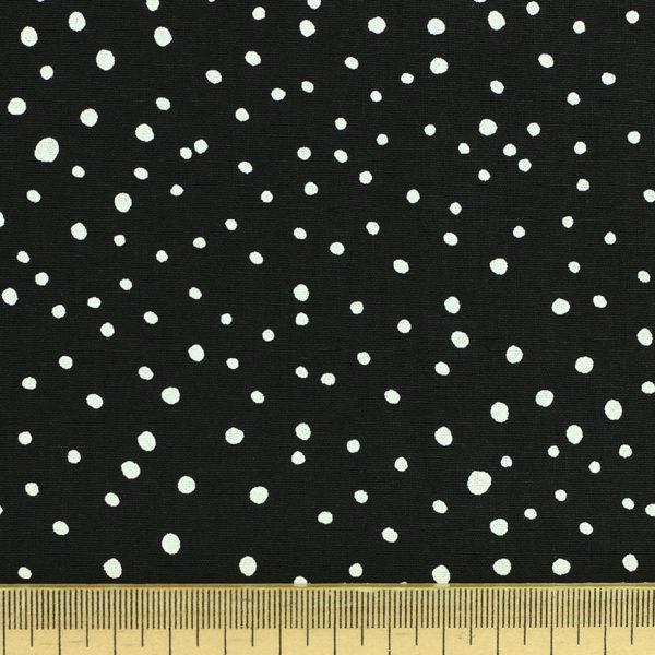 Tissu coton imprimé popeline Dots Noir © Eyrelles Tissus
