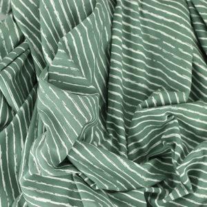 Tissus Jersey coton oeko tex Rayures vert © Eyrelles Tissus