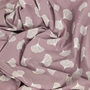 Tissus Jersey coton imprimé oeko tex Gingko rose © Eyrelles Tissus