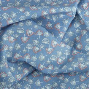 Tissu coton imprimé popeline Coptos Bleu © Eyrelles Tissus