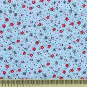 Tissu coton imprimé popeline Jardin Bleu © Eyrelles Tissus