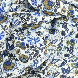Tissu coton imprimé popeline Deoria Bleu © Eyrelles Tissus