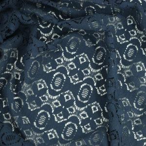tissu dentelle de coton bleu marine Alexia © Eyrelles Tissus