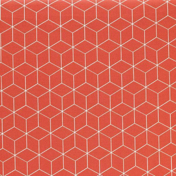 Popeline de coton cubes jorange brique © Eyrelles Tissus