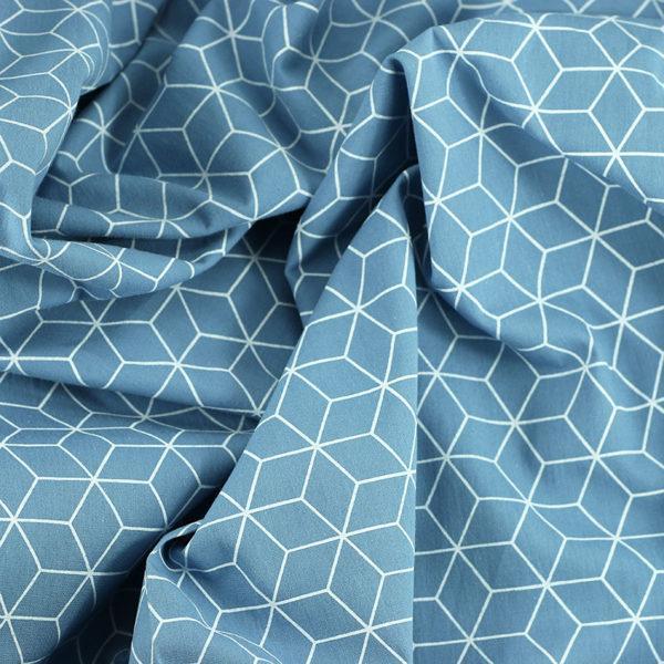 Popeline de coton cubes bleu © Eyrelles Tissus