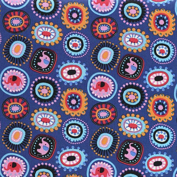 "Tissu coton imprimé popeline ""Eléphant - Bleu"" © Eyrelles Tissus"