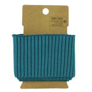 bord côte élastique Oeko Tex Uni texturé - Bleu Paon ©Eyrelles Tissus
