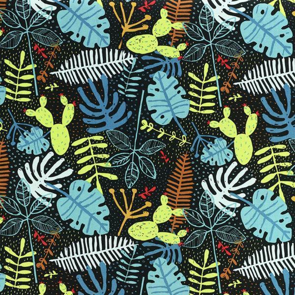 """Popeline tissu imprimé coton oeko tex """"Tropical - Noir"""" © Eyrelles tissus"""