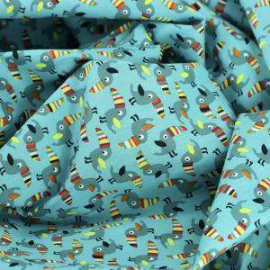 """Popeline tissu imprimé coton oeko tex """"Toucan - Bleu"""" © Eyrelles tissus"""