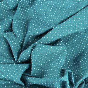 Popeline de coton tissus pois pétrole © Eyrelles Tissus
