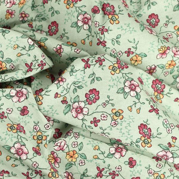 Tissu coton imprimé popeline Caroline Vert © Eyrelles Tissus