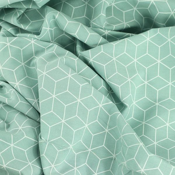 Popeline de coton cubes Vert Menthe © Eyrelles Tissus