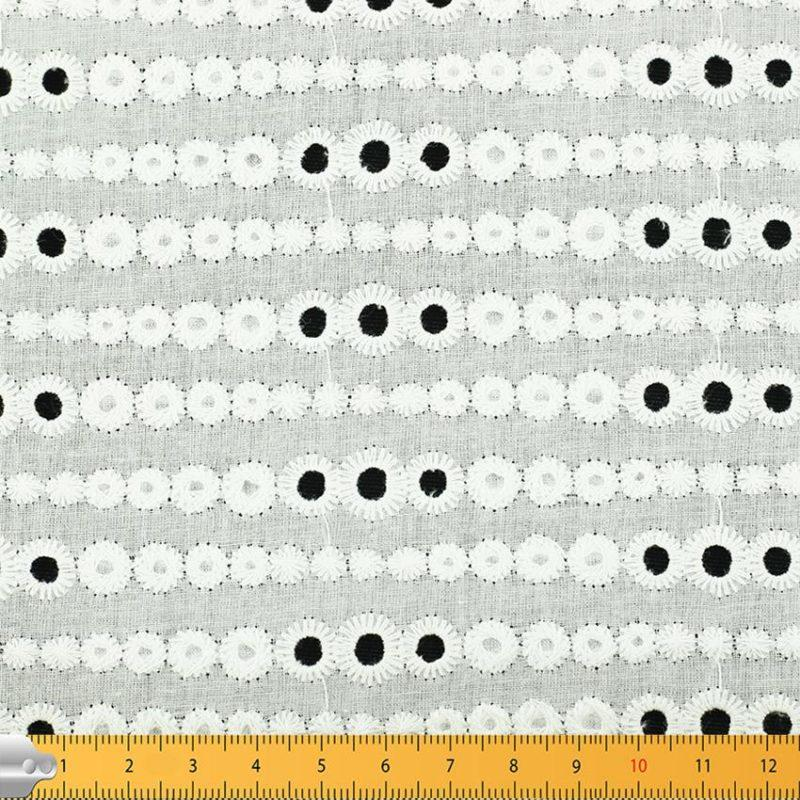 Tissu broderie anglaise Evelyn Blanc 100% coton © Eyrelles Tissus