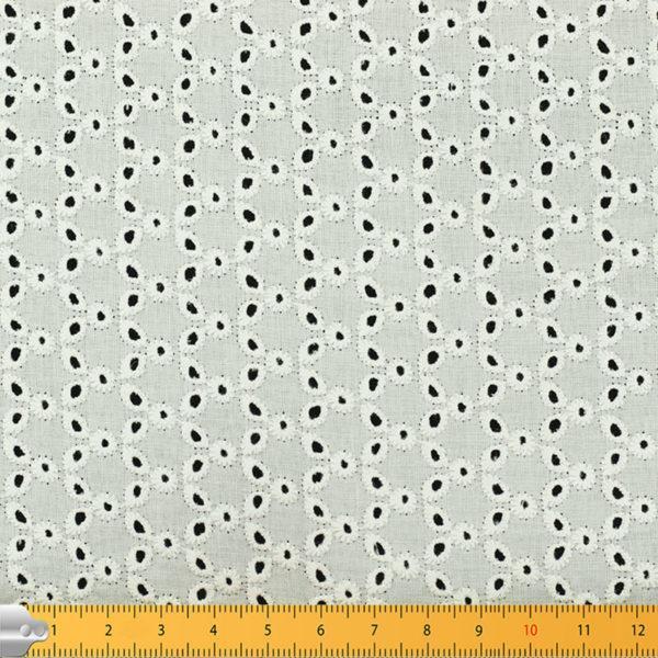 Tissu broderie anglaise Nicole Blanc cassé 100% coton © Eyrelles Tissus