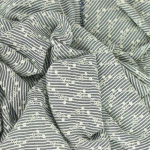 Tissu broderie anglaise Maya Gris 100% viscose © Eyrelles Tissus