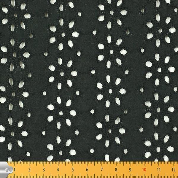 Tissu broderie anglaise Kaitlyn noir 100% coton © Eyrelles Tissus