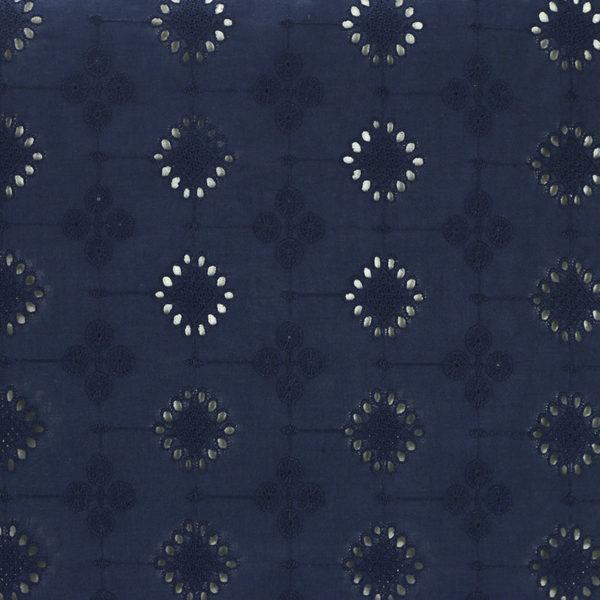 Tissu broderie anglaise Mia Bleu Marine 100% coton © Eyrelles Tissus