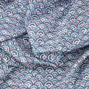 Tissu coton imprimé digital popeline Saitama bleu © Eyrelles Tissus