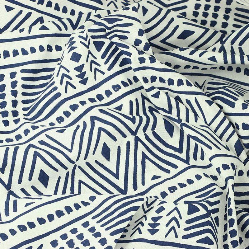 Tissu toile imprimée tissus Batik Bleu © Eyrelles Tissus